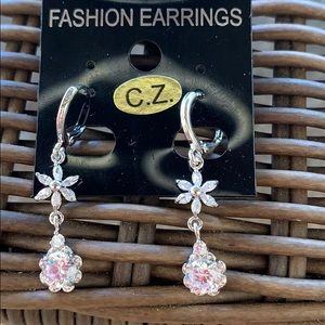 Silver Plated with Cubic Zirconia Earrings